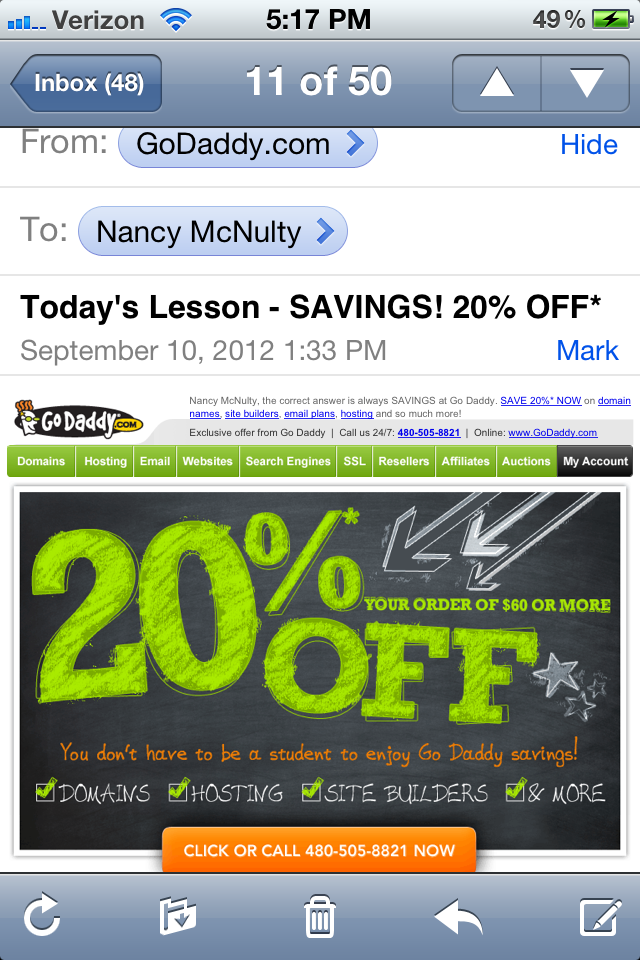 GoDaddy Email blast fail- Forest Home Media